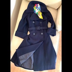 LORD & TAYLOR Navy Wool Double Breasted Coat